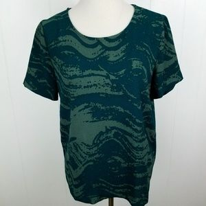 ICHI Crocco Blouse Short Sleeve Green Abstract Top